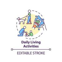 icona del concetto di attività di vita quotidiana vettore