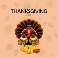 biglietto di auguri di celebrazione del giorno del ringraziamento con uccello di tacchino e zucca con foglie di autumin vettore