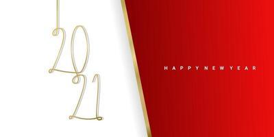 felice anno nuovo 2021 con sfondo rosso e bianco. modello di illustrazione vettoriale minimalista elegante testo oro.