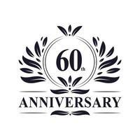 Celebrazione del 60 ° anniversario, lussuoso design del logo dell'anniversario di 60 anni. vettore