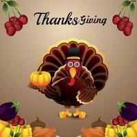 biglietto di auguri di celebrazione del ringraziamento con uccello di tacchino vettoriale