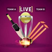 torneo dal vivo di cricket con trofeo d'oro e wicket vettore
