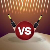 torneo di cricket partita dal vivo con attrezzatura da cricket con sfondo stadio vettore