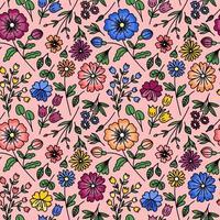 seamless rosa con fiori selvatici vettore
