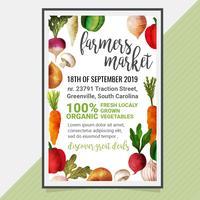 Poster vettoriale con verdure dell'acquerello