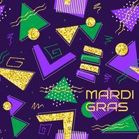 sfondo astratto di mardi gras in stile memphis anni '80 vettore