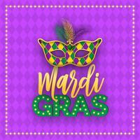 Mascherina di carnevale di Mardi Gras e progettazione di vettore dell'iscrizione