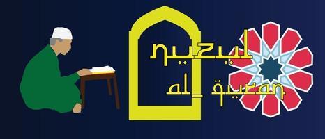 nuzul quran ramadhan kareem vettore