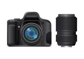 Fotocamera reflex digitale moderna con lente su sfondo bianco vettore