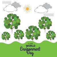 illustrazione vettoriale di uno sfondo per la giornata mondiale dell'ambiente.