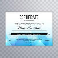 Modello di certificato astratto con design poligono vettore