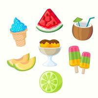 collezione di icone di cibo estivo in design piatto vettore