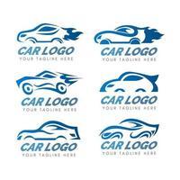 collezione logo auto in sfumatura blu vettore