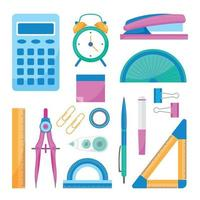 collezione di icone stazionarie della scuola di design piatto vettore