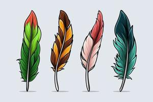 set di piume di uccelli realistiche e colorate disegnate a mano con ombre e luci isolate su priorità bassa bianca vettore
