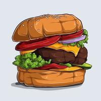 disegnato a mano di deliziosi hamburger con formaggio, manzo, pomodoro, cipolla e lattuga vettore