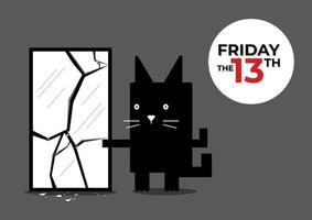 venerdì 13 gatto nero vettore