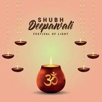 festival indiano di shubh deepawali con pentola luminosa e lampada a olio vettore