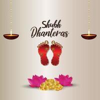 Felice dhanteras celebrazione illustrazione vettoriale della dea laxami impronta su sfondo bianco