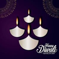 cartolina d'auguri felice di celebrazione di diwali con diya di carta di diwali su fondo viola vettore