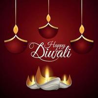 felice diwali celebrazione biglietto di auguri con creativo diwali diya vettore