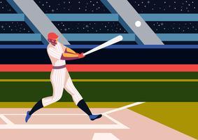 Giocatore che gioca al parco di baseball