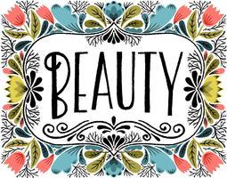 lettering di bellezza floreale vettore