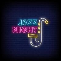 vettore del testo di stile delle insegne al neon di notte di jazz