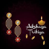 promozione della vendita del festival indiano dei gioielli akshaya tritiya con orecchini d'oro vettore