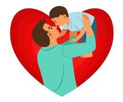 padre che tiene il figlio in alto sullo sfondo di un grande cuore. vettore