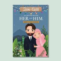 carta di invito a nozze la sposa e lo sposo carina coppia musulmana innamorata .fondo di fiori per la celebrazione dell'evento vettore