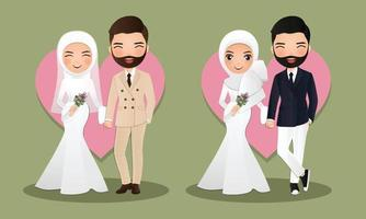 Impostare carino musulmano sposa e sposo. coppia cartoon tenendosi per mano vettore