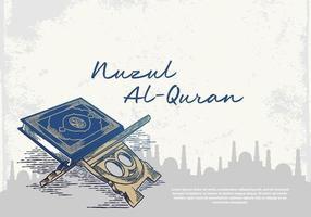 biglietto di auguri di ramadan kareem con corano blu vettore