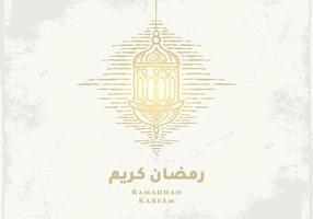 biglietto di auguri di ramadan kareem con schizzo di lanterna dorata vettore