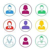 set di icone avatar persone colorate vettore