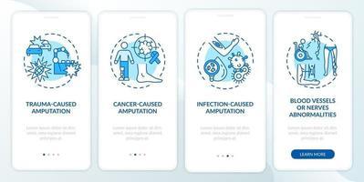 l'amputazione causa l'onboarding della schermata della pagina dell'app mobile con concetti vettore