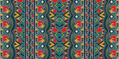 ornamento folcloristico geometrico ikat. struttura etnica tribale vettoriale. motivo a strisce senza soluzione di continuità in stile azteco. figura ricamo tribale. indiano, scandinavo, zingaro, messicano, motivo folk. vettore
