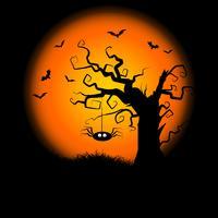spettrale sfondo di albero di halloween vettore