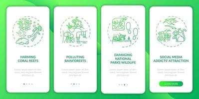 il turismo verde sfida l'onboarding della schermata della pagina dell'app mobile con concetti vettore