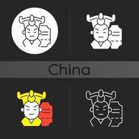 icona del tema scuro dell'opera cinese vettore