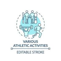 icona di concetto di varie attività atletiche vettore
