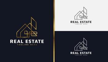 logo immobiliare in oro con stile della linea. modello di progettazione di logo di costruzione, architettura o edificio vettore