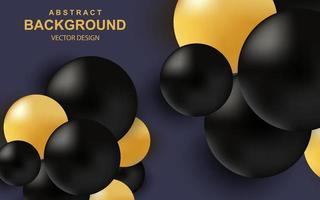 colore di sfondo astratto con realistiche palline 3d composizione di lusso con sfere lucide nere e oro vettore
