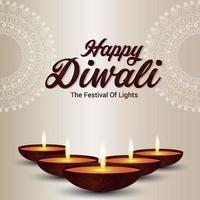 felice diwali il festival della luce su sfondo bianco con diwali diya vettore