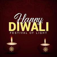 happy diwali indian festival il festival della luce con creativo diwali diya vettore