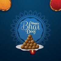 felice bhai dooj celebrazione biglietto di auguri, bhai dooj festival dell'India vettore