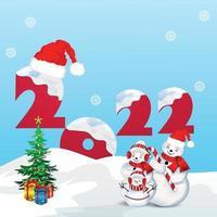sfondo festa di buon natale con palle di neve vettore