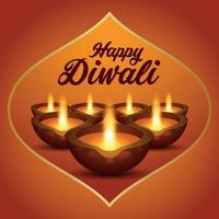 il festival della luce felice diwali sfondo invito festival indiano vettore