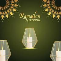 biglietto di auguri invito festival islamico con lanterna di cristallo su sfondo pattern vettore