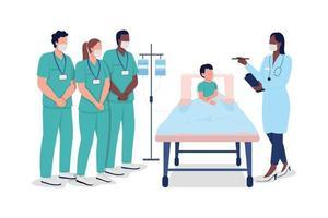 stagisti medici che addestrano caratteri senza volto di vettore di colore piatto